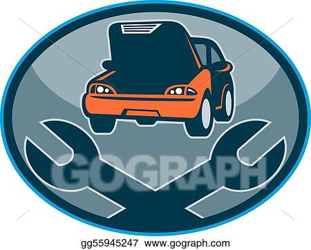 clip art automobile car breakdown mechanical repair with spanner