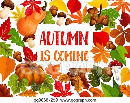 vector illustration autumn leaf and harvest vegetable welcome