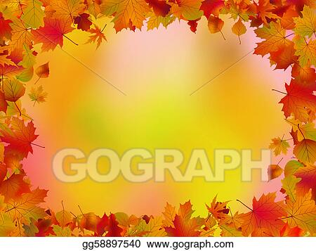 vector illustration autumn leaves border for your text eps 8 eps