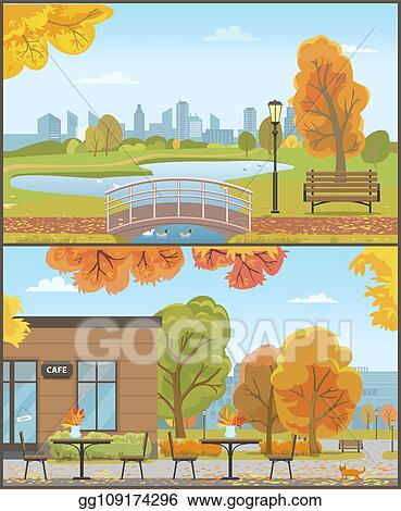 Eps Illustration Autumn Parks With Bridge Over Pond And