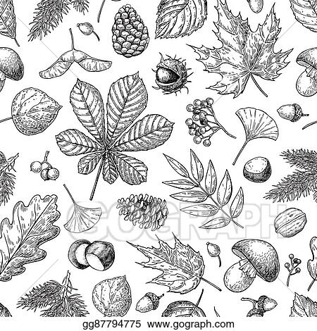 Vector Illustration - Autumn seamless vector pattern with leaves ...