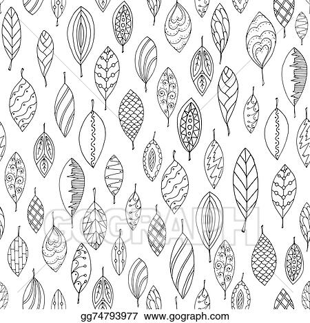 Vector Illustration Autumn White And Black Seamless Stylized Leaf