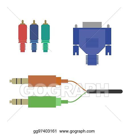 Eps Illustration Aux Vga Component Cable Vector Clipart