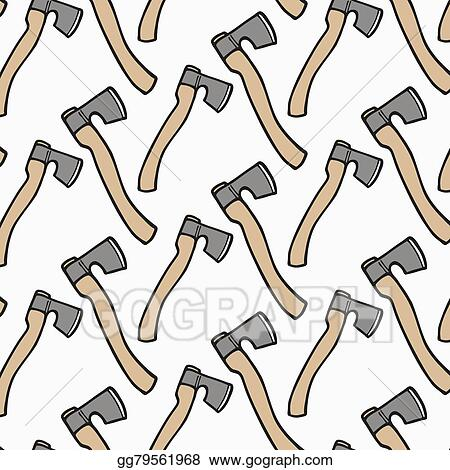 Eps Illustration Ax Wood And Tools Hand Drawn Seamless Cartoon