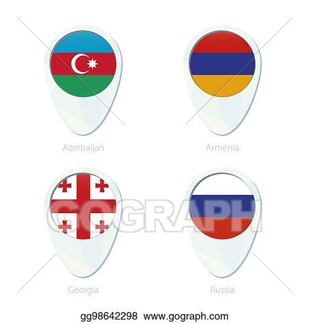 Vector Art Azerbaijan Armenia Georgia Russia Flag Location Map Pin Icon Clipart Drawing Gg98642298 Gograph