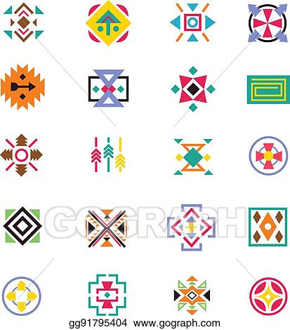 Vector Clipart Aztec Ethnicity Style Signs American Indian Navajo