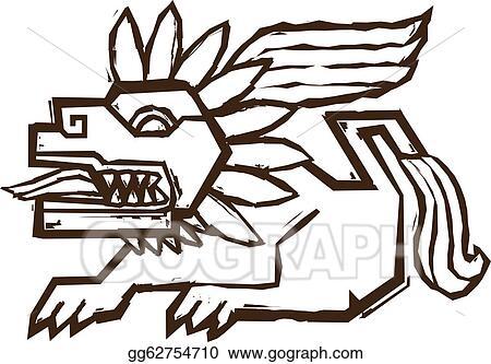 eps vector aztec winged lion stock clipart illustration rh gograph com aztec clip art free aztec calendar clip art