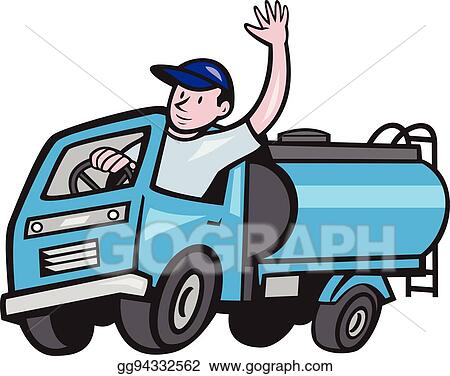 Vecteur Eps Bébé Camion Navire Citerne Chauffeur