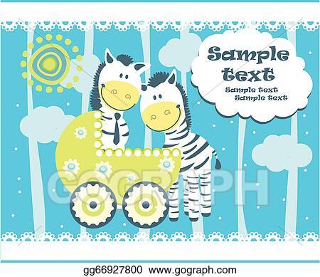 vector illustration baby arrival announcement card stock clip art