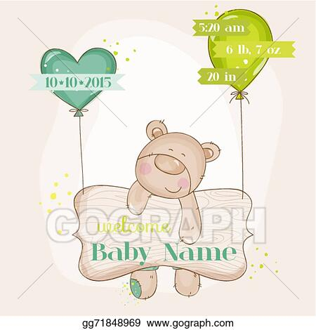 Vector Art Baby Bear With Balloons Baby Shower Or Baby
