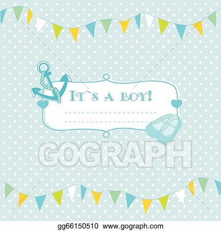 eps illustration baby boy arrival announcement card vector