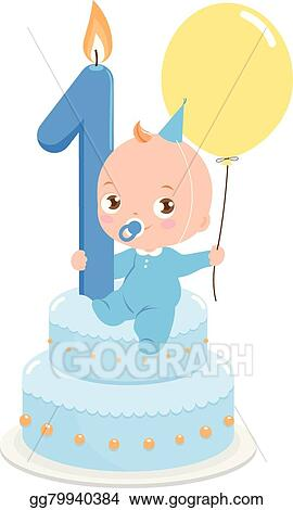 Sensational Vector Stock Baby Boy With Birthday Cake Clipart Illustration Funny Birthday Cards Online Alyptdamsfinfo