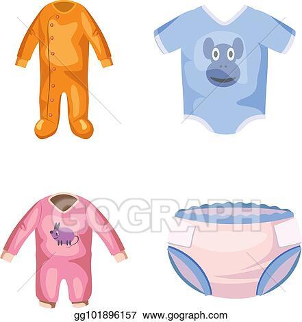 3a2e8afba83b Clip Art Vector - Baby clothes icon set