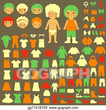 Vector Clipart Baby Clothing Silhouette Vector Illustration