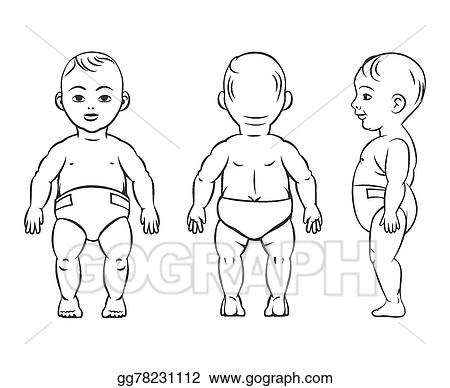 vector illustration baby figure front side and back view stock