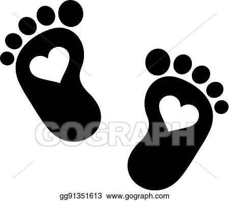 vector art baby footprint icon with hearts clipart drawing gg91351613 gograph https www gograph com clipart license summary gg91351613