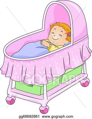 8e9fcd6f2 Vector Stock - Baby girl bassinet. Clipart Illustration gg68682861 ...