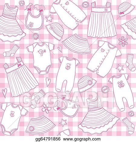 1ff0fe3299f2 Vector Illustration - Baby girl clothes seamless pattern. Stock Clip ...