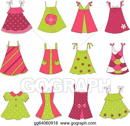 10bca8938630 Vector Art - Baby girl dress collection. EPS clipart gg64060918 ...