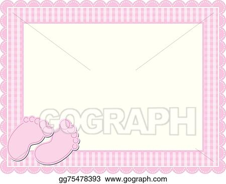 Clip Art Vector - Baby girl gingham frame. Stock EPS gg75478393 ...