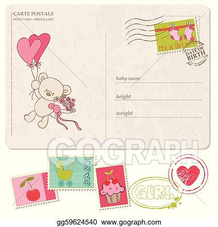 Vector Art Baby Girl Greeting Postcard With Set Of Stamps EPS
