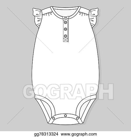 f3c17dc49ddc Vector Illustration - Baby girl one piece bodysuit. Stock Clip Art ...
