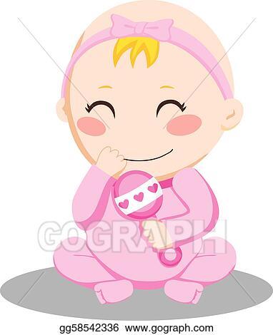 Eps Vector Baby Girl Rattle Stock Clipart Illustration Gg58542336