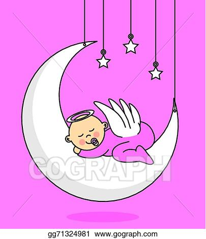 Vector Illustration Baby Girl Sleeping On The Moon Eps Clipart Gg71324981 Gograph