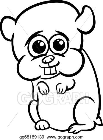 vector illustration baby hamster cartoon coloring page stock clip rh gograph com Hamsters Playing Sports Hamster Cages