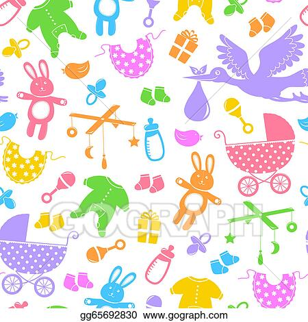 vector clipart baby items pattern vector illustration gg65692830 rh gograph com baby items clipart images baby items clipart black and white