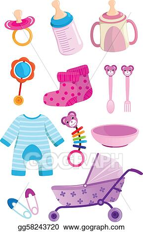 vector stock baby items clipart illustration gg58243720 gograph rh gograph com baby boy items clipart baby items clipart images