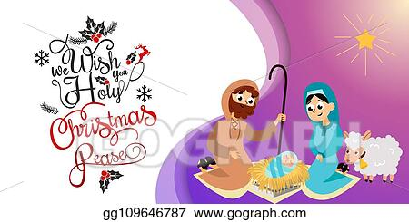 Christmas Jesus Birth Drawing.Vector Art Baby Jesus Born In Bethlehem Scene In Holy