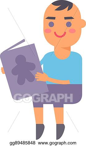 Vector Stock Baby Kid Read Book Vector Illustration