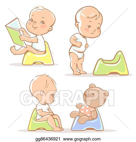 Baby old. Vector art on potty