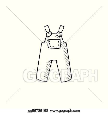 0b1f0c05c166 Vector Stock - Baby overalls sketch icon. Clipart Illustration ...