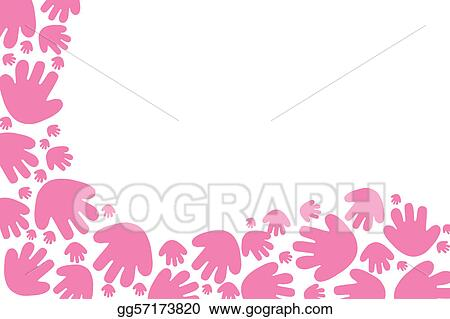 Clipart Baby Pink Handprint Background Stock Illustration