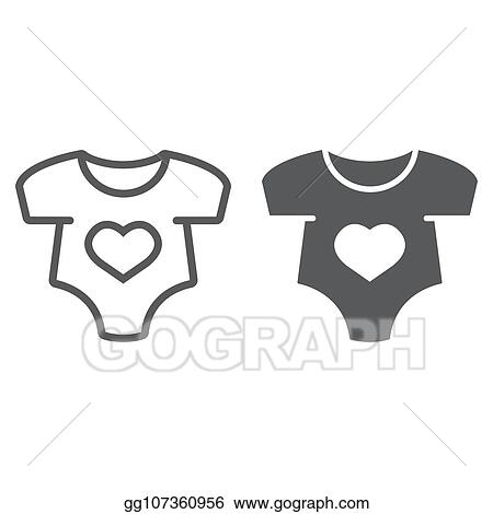 bed37b62ae4 EPS Vector - Baby romper line and glyph icon