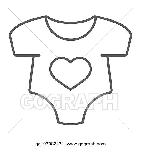 d0739047bdb EPS Illustration - Baby romper thin line icon