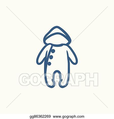 195c6b02542e Vector Art - Baby rompers sketch icon. Clipart Drawing gg86362269 ...
