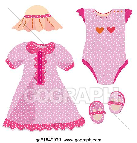 drawing baby set for girl dress hat babygro shoes clipart