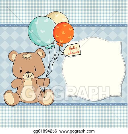 Vector Stock Baby Shower Card With Cute Teddy Clipart