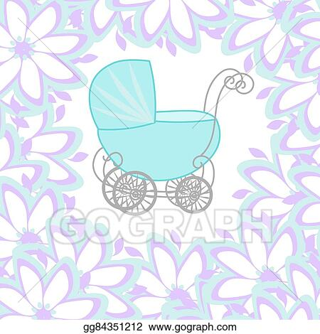 clip art vector baby shower girl announcement baby carriage
