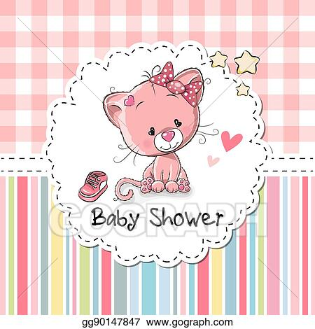 Vector Illustration Baby Shower Greeting Card With Kitten Eps
