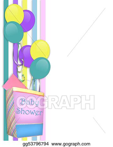 Clip Art Baby Shower Invitation Border Stock Illustration