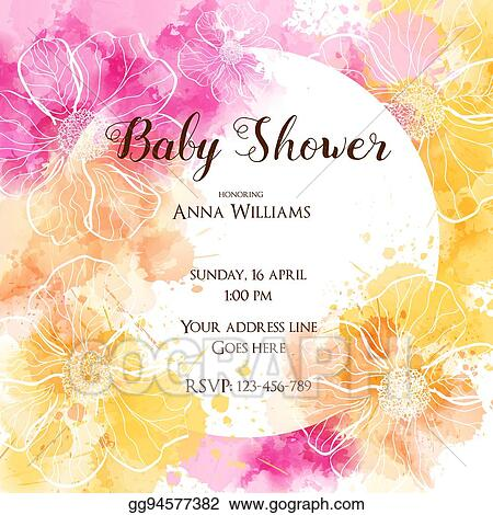 Vector Art Baby Shower Invitation Card Clipart Drawing