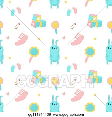 Vector Stock Baby Shower Vector Seamless Pattern With Newborn Items Clipart Illustration Gg111314409 Gograph
