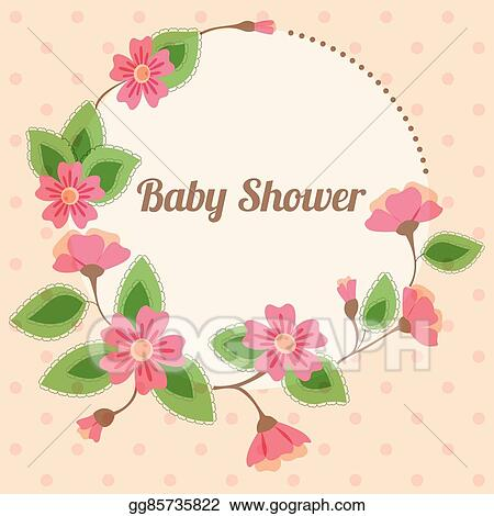 Vector Stock Baby Shower With Round Floral Banner Vintage Pink