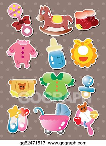 Baby stuff. Vector clipart stickers illustration