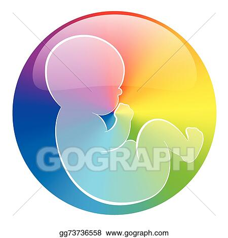 Clip Art Vector Baby Symbol Rainbow Color Circle Wh Stock Eps