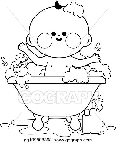 Vector Illustration - Baby taking a bath. black and white ...